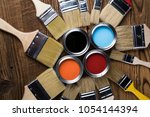 painting tools and accessories... | Shutterstock . vector #1054144394