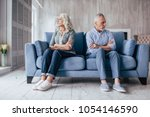 senior couple at home. handsome ... | Shutterstock . vector #1054146590