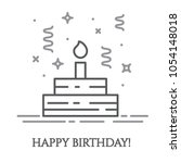 birthday cake with candle and... | Shutterstock .eps vector #1054148018