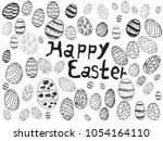 doodle easter eggs background  | Shutterstock .eps vector #1054164110