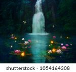 Waterfall At Night And Pond...