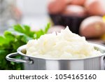 mashed  mash potato with butter ... | Shutterstock . vector #1054165160