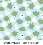 cute white hare and tortoise.... | Shutterstock .eps vector #1054166684