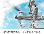 main mast and rotating radar...   Shutterstock . vector #1054167416