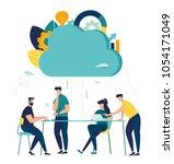 vector flat illustration  cloud ... | Shutterstock .eps vector #1054171049