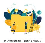 yellow document storage folder... | Shutterstock .eps vector #1054175033