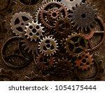 assortment of old metal gears...   Shutterstock . vector #1054175444