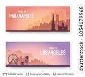 indianapolis and los angeles... | Shutterstock .eps vector #1054179968
