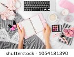 fashion blogger working with... | Shutterstock . vector #1054181390