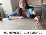 young woman alcoholic social... | Shutterstock . vector #1054183433
