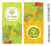 be vegan vertical flyers set... | Shutterstock . vector #1054196870