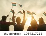 peope with flags of india.... | Shutterstock . vector #1054217216
