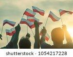 poland patriots  back view.... | Shutterstock . vector #1054217228