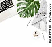 home office workspace mockup... | Shutterstock . vector #1054219283