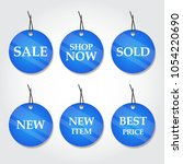 collection of circle blue sale... | Shutterstock .eps vector #1054220690
