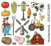 farm decorative icon set with... | Shutterstock .eps vector #1054222889