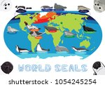 seal distribution world map... | Shutterstock .eps vector #1054245254