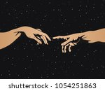 adam and god hands on space... | Shutterstock .eps vector #1054251863