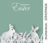 vector easter day paper cut.for ... | Shutterstock .eps vector #1054254626