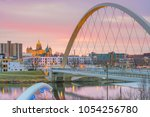 des moines iowa skyline in usa  ... | Shutterstock . vector #1054256780