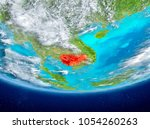 cambodia highlighted in red on... | Shutterstock . vector #1054260263