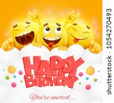 smiley yellow faces emoji... | Shutterstock .eps vector #1054270493