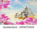 osaka castle sakura  spring...   Shutterstock . vector #1054272410