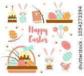 colorful set happy easter... | Shutterstock .eps vector #1054273394