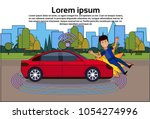 car crashed man on road... | Shutterstock .eps vector #1054274996