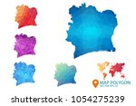 ivory coast map   set of... | Shutterstock .eps vector #1054275239