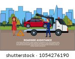 roadside assistance towing... | Shutterstock .eps vector #1054276190