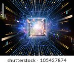 Design composed of CPU graphic and abstract design elements as a metaphor on the subject of digital equipment, computing and modern technologies - stock photo