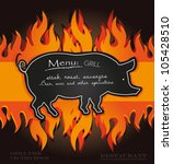 vector blackboard grill menu...   Shutterstock .eps vector #105428510
