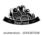 graphic seafood together  vector   Shutterstock .eps vector #1054287038