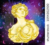 greek goddess. victorian cameo... | Shutterstock .eps vector #1054302500