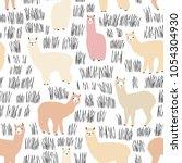 Seamless Pattern With Lama....