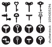 wind up key icon set cartoon... | Shutterstock .eps vector #1054305296
