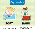 opposite words for soft and... | Shutterstock .eps vector #1054307420