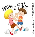 two boys fighting with phrase... | Shutterstock .eps vector #1054307483
