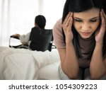 moms are concerned and stressed ... | Shutterstock . vector #1054309223