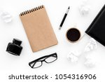 writer office desk with... | Shutterstock . vector #1054316906