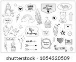 set of outline objects  ... | Shutterstock .eps vector #1054320509