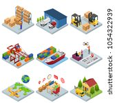 different types warehouse 3d... | Shutterstock .eps vector #1054322939