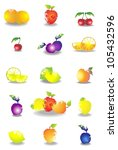 icon set of various fruit and... | Shutterstock . vector #105432596