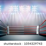 boxing ring with illumination...   Shutterstock . vector #1054329743