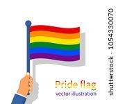 lgbt pride flag. multicolored... | Shutterstock .eps vector #1054330070