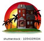 haunted halloween house at...   Shutterstock .eps vector #1054339034
