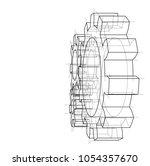 3d gear wheel. vector rendering ... | Shutterstock .eps vector #1054357670