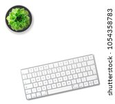 computer keyboard and succulent ... | Shutterstock .eps vector #1054358783