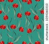 seamless retro 1940s pattern in ... | Shutterstock . vector #1054360310